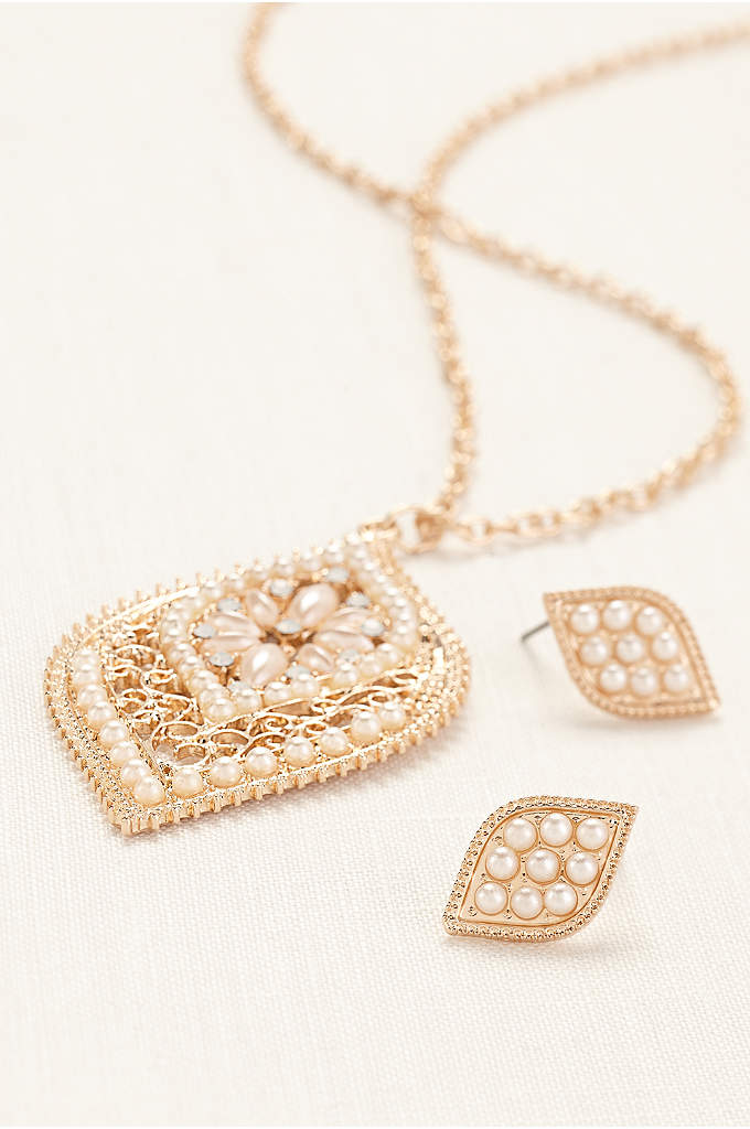 Floral Pearl Filigree Necklace and Earring Set
