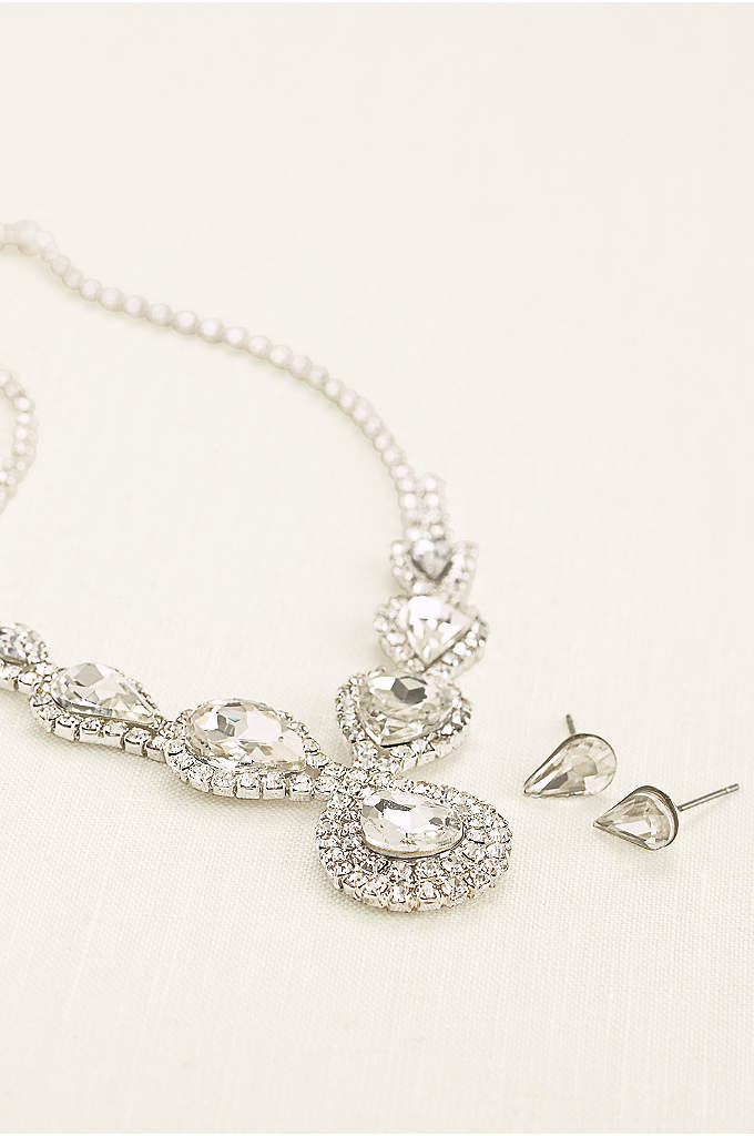 Pear and Pave Rhinestone Necklace and Earring Set - This high-shine pear and pave rhinestone necklace and