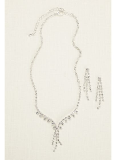 David's Bridal Grey (Rhinestone Tassel Necklace and Earring Set)