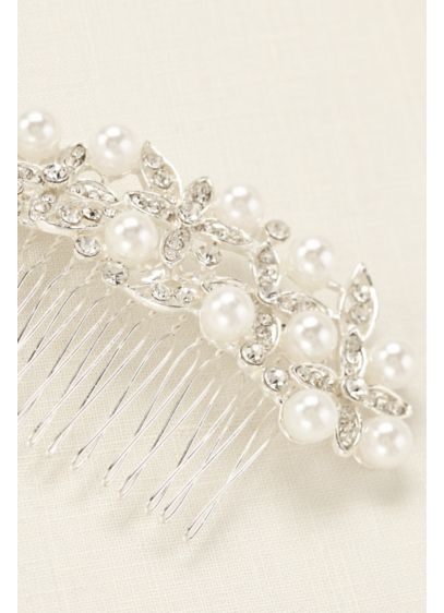 Floral Motif Pearl Accent Comb - Wedding Accessories