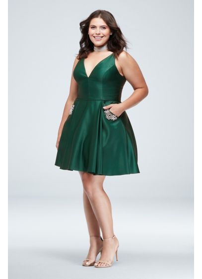 Plunging-V Satin Plus Size Dress with Pockets - You'll look absolutely radiant in this plunging V-neck