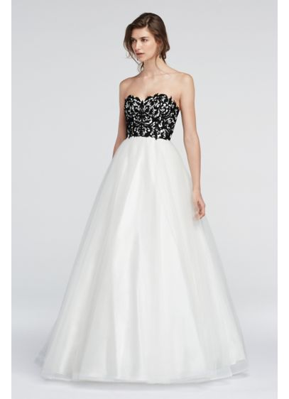 Strapless Lace Prom Dress with Ball Gown Skirt | David\'s Bridal