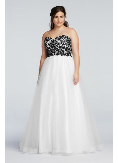 Strapless Prom Dress with Tulle Ball Gown Skirt | David\'s Bridal