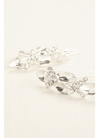 David's Bridal White (Marquis Rhinestone Duo Hair Clips)