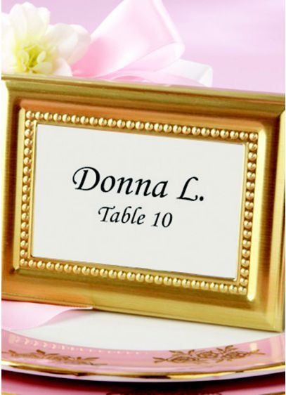 Beaded Gold Photo Frame Place Card Holders - Enhance each place setting at your resplendent event