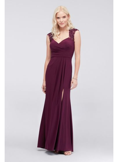 Piped Jersey Sheath Dress with Illusion Back - Floral piping graces the cap sleeves and illusion