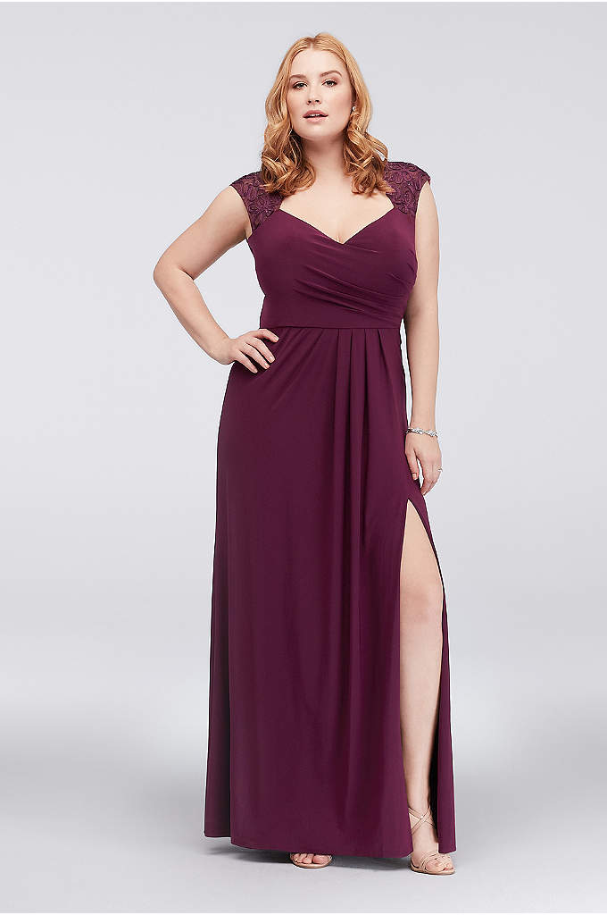 Piped Plus Size Jersey Dress with Illusion Back - Floral piping graces the cap sleeves and illusion