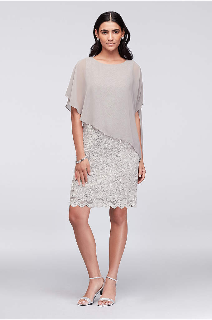 Glitter Lace Sheath Dress with Chiffon Capelet - This simple sheath dress silhouette shines in glitter