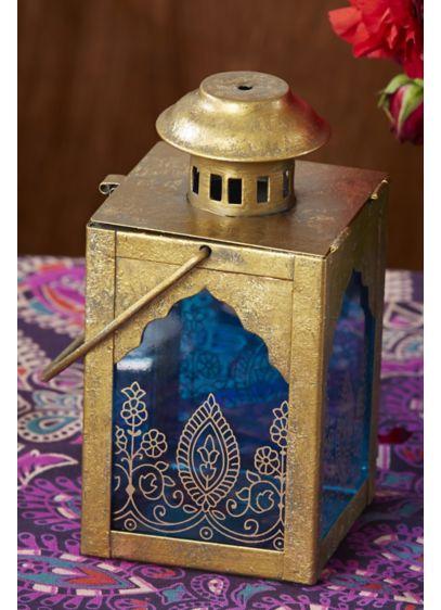 Henna-Motif Jewel Lantern Set - Set of two Metal, glass 6.5