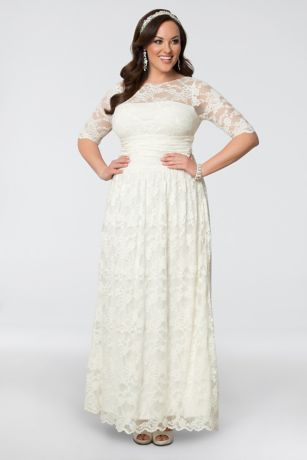 Lace illusion plus size wedding gown david 39 s bridal for Plus size trumpet wedding dress with sleeves