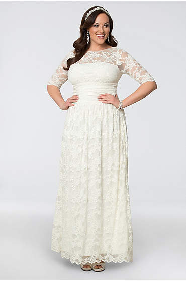 Lace Illusion Plus Size Wedding Gown