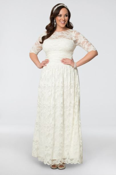 Plus Size Informal Wedding Dresses | Lace Illusion Plus Size Wedding Gown David S Bridal