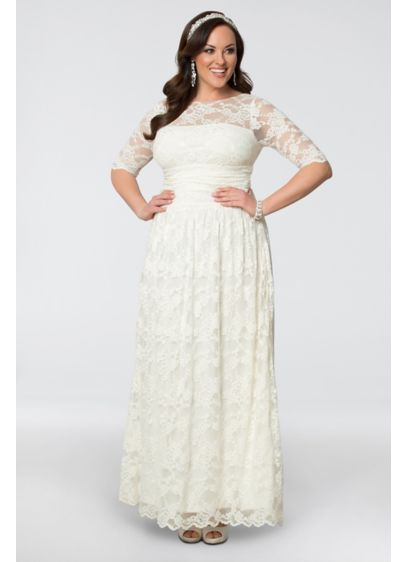 7a00f805676 Lace Illusion Plus Size Wedding Gown. 14130904. Long Sheath Boho Wedding  Dress - Kiyonna