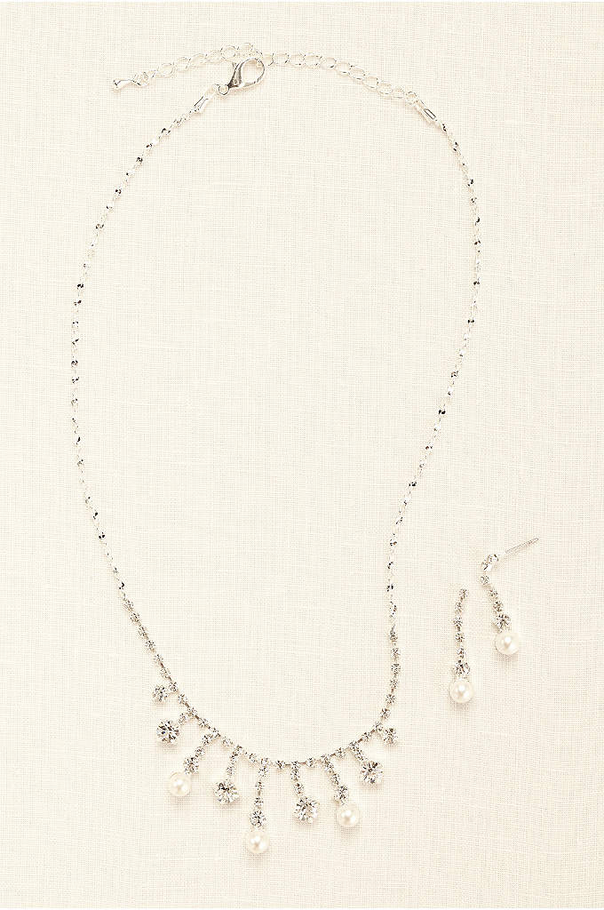 Pearl and Crystal Drop Necklace and Earring Set