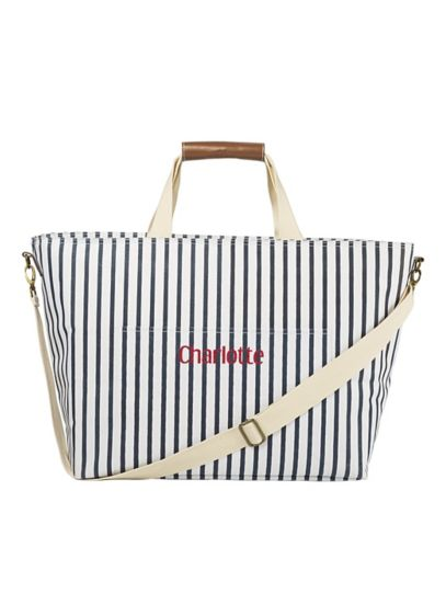 Personalized Striped Cooler Tote - Wedding Gifts & Decorations