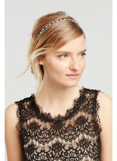 David's Bridal Grey (Crystal and Hematite Double Row Stretch Headband)