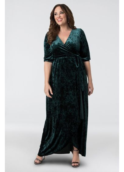 Cambria Velvet Plus Size Wrap Maxi Dress | David\'s Bridal
