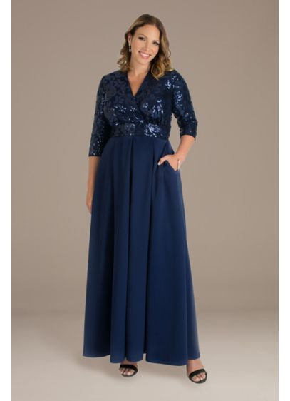 Long A-Line 3/4 Sleeves Formal Dresses Dress - Kiyonna