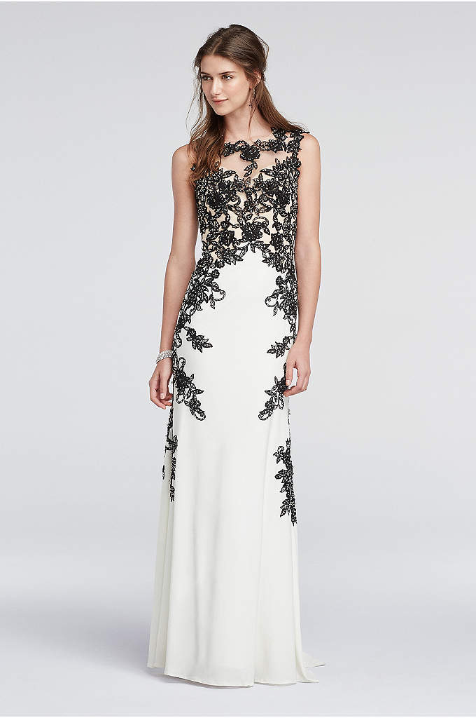 Lace Cap Sleeve Prom Dress with Illusion Detail