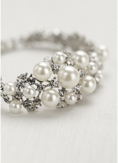 Pearl and Crystal Center Clasp Bracelet - Wedding Accessories
