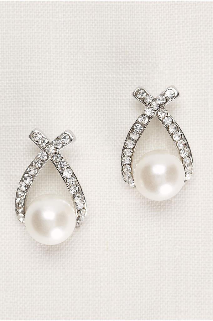 Crisscross Crystal and Pearl Earrings