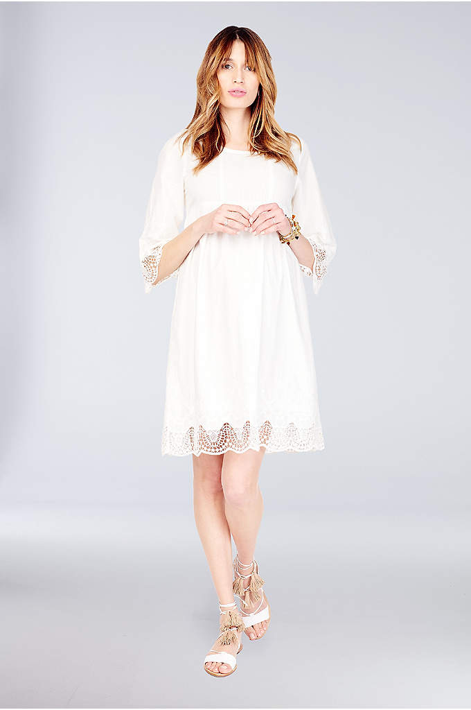 Lace Bell-Sleeve Maternity Dress - Lace trim at the bell sleeves and hem