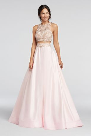 4d370e9ef6 Two Piece Beaded Satin Prom Crop Top and Skirt | David's Bridal