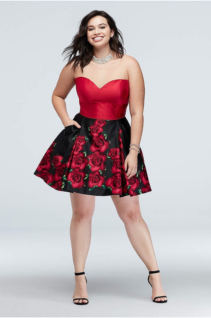 Tie-Corset and Floral Skirt Plus Size Dress