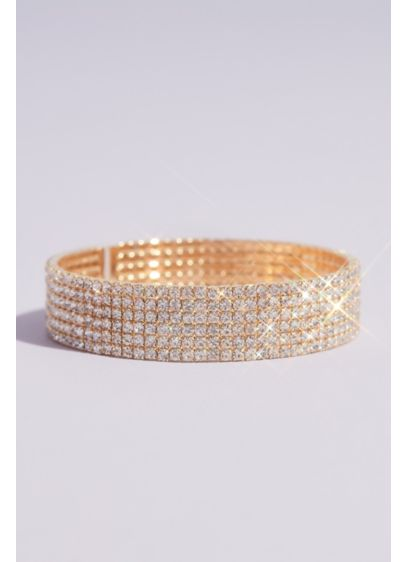 David's Bridal Yellow (Circle Cut Rhinestone Stack Cuff Bracelet)