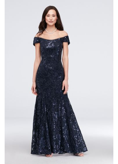 Sequin Lace Off-the-Shoulder Mermaid Gown - Glimmering sequin lace sparkles dramatically on this curve-hugging