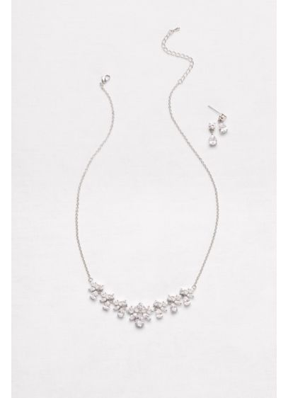 Cubic Zirconia Cluster Necklace and Earrings Set - Wedding Accessories