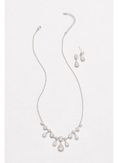 Pave Cubic Zirconia Pear Necklace and Earring Set - Wedding Accessories