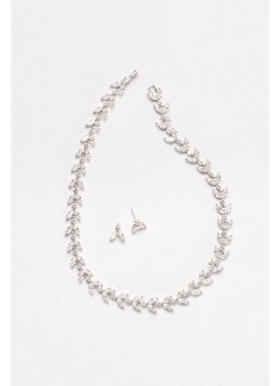 Cubic Zirconia Leaves Necklace and Earring Set - Wedding Accessories