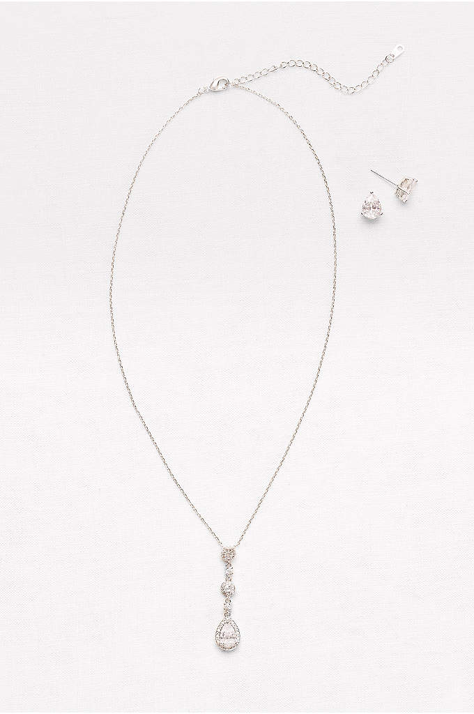 Cubic Zirconia Teardrop Necklace and Earrings Set - A understated-yet-sparkling cubic zirconia set of petite pave