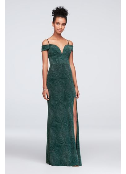 Deep V-Neck Cold Shoulder Glitter Sheath Gown - This glitter-textured sheath gown's deeply plunging V-neck adds