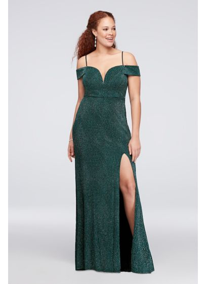 Deep V-Neck Cold Shoulder Glitter Plus Size Gown - This glitter-textured sheath gown's deeply plunging V-neck adds