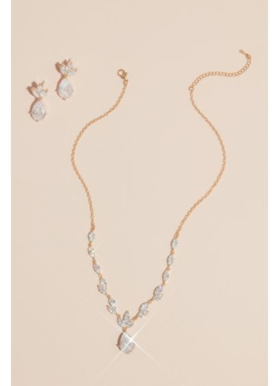 David's Bridal Grey (Leafy Cubic Zirconia Necklace and Earring Set)