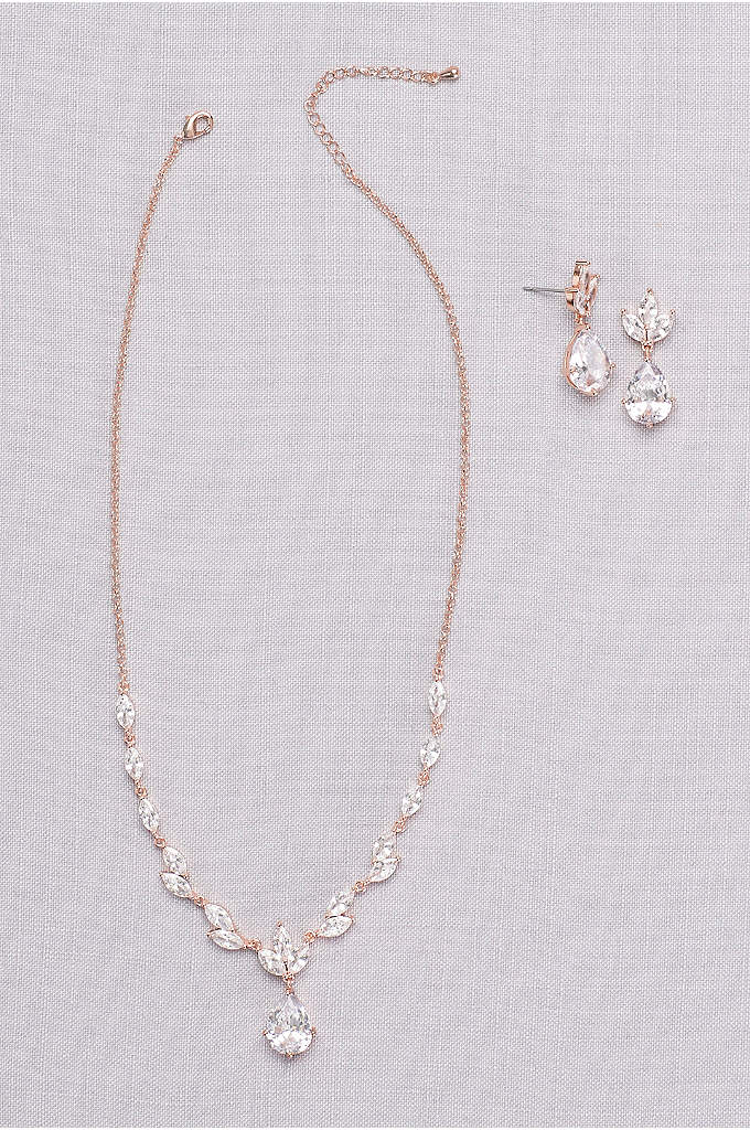 Leafy Cubic Zirconia Necklace and Earring Set - Take the guesswork out of accessorizing with this