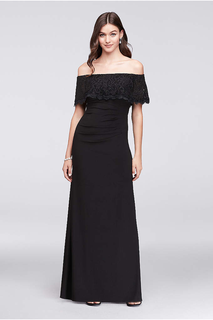 Glitter Lace Off-The-Shoulder Jersey Sheath Gown - With side gathering and a ruched back seam