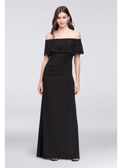 Glitter Lace Off The Shoulder Jersey Sheath Gown Davids Bridal