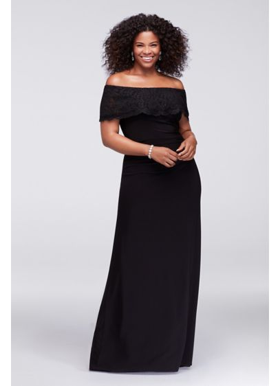 cbf3ec792c7 Glitter Lace Off-The-Shoulder Plus Size Gown. 150XW. Long A-Line Off the  Shoulder Cocktail and Party Dress - Xscape