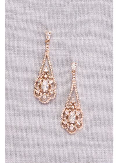 Pear Cubic Zirconia Filigree Chandelier Earrings - Wedding Accessories