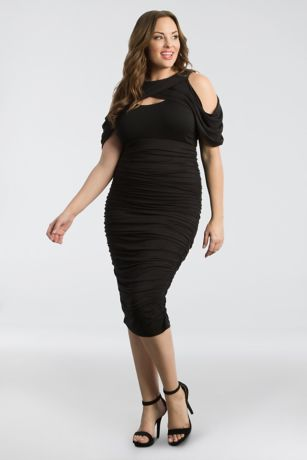 Plus Size Ruched Cocktail Dress