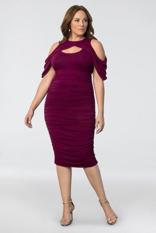 Short Sheath Off the Shoulder Dress - Kiyonna