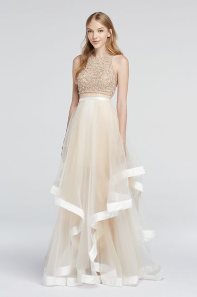Two Piece Beaded Prom Crop Top And Illusion Skirt David