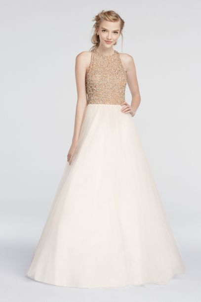Beaded High Neck Prom Dress With Ball Gown Skirt Davids Bridal