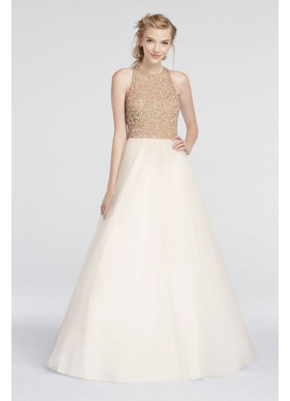 Long Ballgown Halter Daytime Dress - Glamour