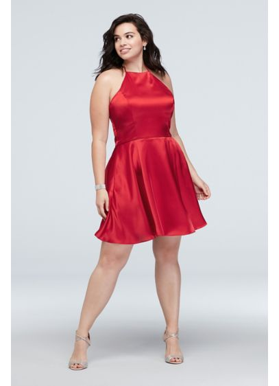 Short Plus Size Satin High-Neck Halter Dress - Get ready to dance in this short satin