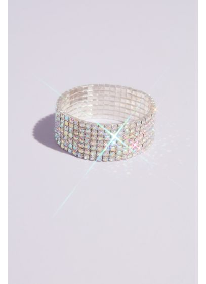 Iridescent Crystal Stretch Cuff Bracelet - Dazzling on its own or stacked in an