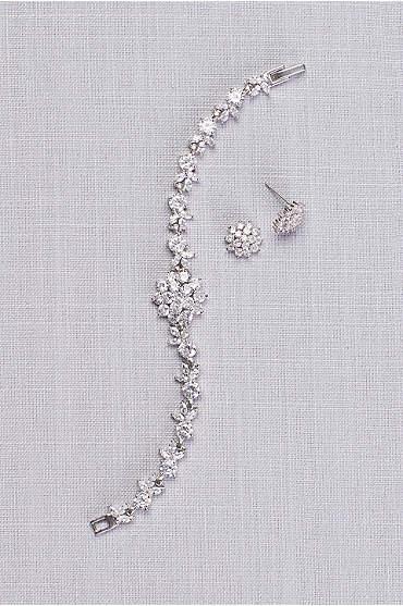 Cubic Zirconia Dahlia Bracelet and Earring Set
